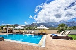 Бассейн. Греция, Сиси : Роскошная вилла с бассейном и зеленым двориком с барбекю, 5 спален, 3 ванные комнаты, парковка, Wi-Fi