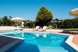 Бассейн. Греция, Милатос : Современная вилла с бассейном и двориком с барбекю, 3 спальни, 3 ванные комнаты, парковка, Wi-Fi