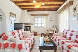 Гостиная. Греция, Агнос : Уютная вилла с бассейном, зеленой лужайкой, джакузи, барбекю, 2 спальни, 2 ванные комнаты, парковка, Wi-Fi