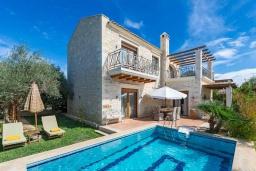 Фасад дома. Греция, Скалета : Шикарная вилла с бассейном и зеленым двориком с барбекю, 3 спальни, 3 ванные комнаты, парковка, Wi-Fi