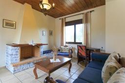Гостиная. Греция, Коккино Хорио : Роскошная вилла с бассейном и зеленым двориком с барбекю, 4 спальни, 2 ванные комнаты, парковка, Wi-Fi