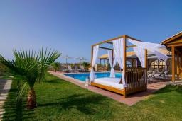 Бассейн. Греция, Скалета : Роскошная вилла с большим бассейном и зеленым двориком, 50 метров до пляжа, 6 спален, 6 ванных комнат, барбекю, джакузи, парковка, Wi-Fi