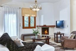 Гостиная. Греция, Ираклион : Шикарная вилла с бассейном и зеленым двориком, 5 спален, 3 ванные комнаты, барбекю, парковка, Wi-Fi