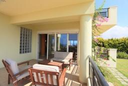 Терраса. Греция, Скалета : Роскошная вилла с большим бассейном и зеленым двориком, 4 спальни, 3 ванные комнаты, барбекю, парковка, Wi-Fi