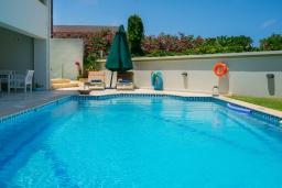 Бассейн. Греция, Скалета : Современная и элегантная вилла с 5-ю спальнями, с бассейном, зелёным двориком, тенистой террасой с патио, барбекю, расположена всего в 70 метрах от пляжа