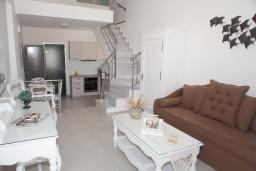 Гостиная. Греция, Сития : Роскошная вилла с бассейном и зеленой территорией, 20 метров до пляжа, 3 гостиные с кухнями, 3 спальни, 3 ванные комнаты и 1 гостевой туалет, барбекю, парковка, Wi-Fi