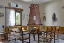 Гостиная. Греция, Гувес : Прекрасная вилла в 50 метрах от пляжа с зеленым двориком, 3 спальни, 2 ванные комнаты, барбекю, парковка, Wi-Fi