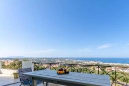 Вид на море. Греция, Херсонисос : Роскошная вилла с видом на море, 4 спальни, 2 ванные комнаты, парковка, Wi-Fi