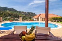 Бассейн. Греция, Фаласарна : Прекрасная вилла с бассейном, зеленым двориком и видом на море, 3 спальни, 2 ванные комнаты, джакузи, барбекю, парковка, Wi-Fi