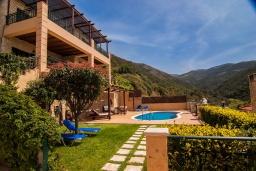Территория. Греция, Фаласарна : Прекрасная вилла с бассейном, зеленым двориком и видом на море, 3 спальни, 2 ванные комнаты, джакузи, барбекю, парковка, Wi-Fi
