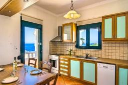 Кухня. Греция,  Ханья : Уютная вилла с шикарным видом на море, с 3 спальнями, с бассейном, с тенистой террасой и барбекю
