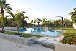 Бассейн. Греция, Скалета : Шикарная вилла с 6-ю спальнями, бассейном, зелёной территорией, детской площадкой, баскетбольной площадкой, патио и барбекю