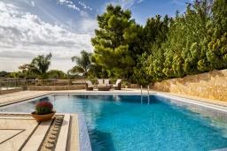 Бассейн. Греция,  Ханья : Роскошная вилла с 8 спальнями, с бассейном, детской площадкой, зелёной территорией, беседкой с патио и каменным барбекю