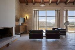 Гостиная. Греция, Ретимно : Роскошная вилла с 3 спальнями, с бассейном, lounge-зоной, тенистой террасой с патио и каменным барбекю