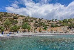 Ближайший пляж. Греция, Превели : Роскошная вилла в 50 метрах от пляжа и с видом на море, 3 спальни, 2 ванные комнаты, приватный дворик с барбекю, парковка, Wi-Fi