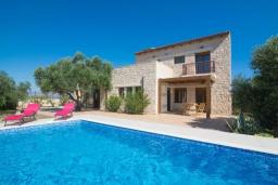 Фасад дома. Греция, Коккини Хани : Прекрасная вилла с бассейном и зеленым двориком, 3 спальни, 2 ванные комнаты, парковка, Wi-Fi