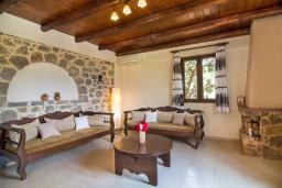 Гостиная. Греция, Панормо : Уютная вилла с бассейном и зеленым двориком с барбекю, 1 спальня, парковка, Wi-Fi