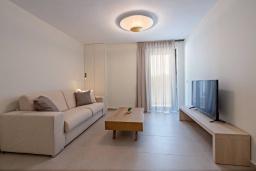 Гостиная. Греция, Ретимно : Современная вилла в 100 метрах от пляжа с бассейн и приватным двориком с барбекю, 3 спальни, 3 ванные комнаты, джакузи, сауна, тренажерный зал, парковка, Wi-Fi