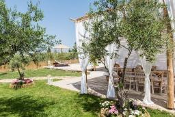 Фасад дома. Греция, Платаньяс : Уютная вилла с бассейном и зеленым двориком с барбекю, парковка, Wi-Fi