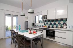 Кухня. Греция, Аделе : Прекрасная вилла с бассейном и зеленым двориком с барбекю, 3 спальни, 2 ванные комнаты, детская площадка, парковка, Wi-Fi