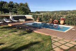 Бассейн. Греция, Малеме : Прекрасная вилла с бассейном, джакузи, зеленой лужайкой и барбекю, 2 спальни, сауна, парковка, Wi-Fi