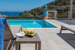 Бассейн. Греция, Айя Пелагия : Прекрасная вилла с бассейном, зеленой лужайкой, барбекю и видом на море, 3 спальни, 3 ванные комнаты, парковка, Wi-Fi
