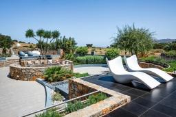 Территория. Греция, Милатос : Роскошная вилла с бассейном и зеленым двориком с барбекю и патио, 4 спальни, 3 ванные комнаты, парковка, Wi-Fi