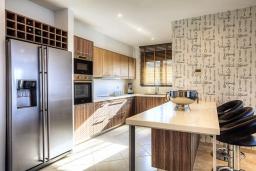 Кухня. Греция, Сиси : Роскошная вилла с большим бассейном, джакузи и зеленым двориком с барбекю, 6 спален, 6 ванных комнат, парковка, Wi-Fi