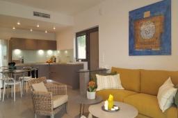 Гостиная. Греция, Коккино Хорио : Современная вилла в 300 метрах от пляжа с бассейном и двориком с барбекю, 2 спальни, 2 ванных комнат, парковка, Wi-Fi