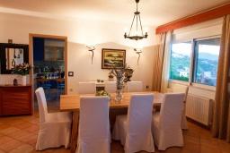 Обеденная зона. Греция, Айя Пелагия : Прекрасная вилла с бассейном и зеленой территорией с барбекю, 5 спален, 7 ванных комнат, джакузи, парковка, Wi-Fi