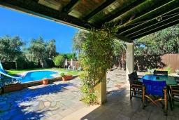 Территория. Греция, Карниарис : Прекрасная вилла с бассейном и зеленым двориком с барбекю, 3 спальни, 2 ванные комнаты, парковка, Wi-Fi