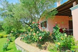 Фасад дома. Греция, Поуладес : Уютная вилла с бассейном и зеленым двориком с барбекю, 4 спальни, 3 ванные комнаты, парковка, Wi-Fi