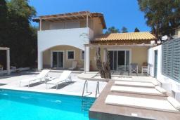 Фасад дома. Греция, Айос Прокопиос : Уютная вилла с бассейном и приватным двориком, 3 спальни, 3 ванные комнаты, джакузи, парковка, Wi-Fi