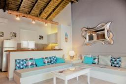 Гостиная. Греция, Айос Прокопиос : Уютная вилла с бассейном и приватным двориком, 3 спальни, 3 ванные комнаты, джакузи, парковка, Wi-Fi