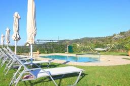 Зона отдыха у бассейна. Греция, Сидари : Прекрасная вилла с бассейном и большим зеленым садом с барбекю, 3 спальни, 3 ванные комнаты, парковка, Wi-Fi