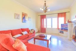 Гостиная. Греция, Нимфес : Уютная вилла с зеленым двориком и барбекю, 4 спальни, 3 ванные комнаты, парковка, Wi-Fi