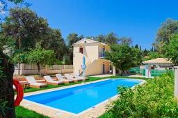 Фасад дома. Греция, Айос Спиридон : Роскошная вилла с большим бассейном, зеленым двориком и барбекю, 4 спальни, 3 ванные комнаты, парковка, Wi-Fi