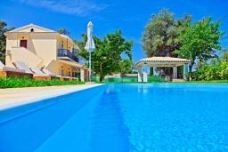 Бассейн. Греция, Айос Спиридон : Роскошная вилла с большим бассейном, зеленым двориком и барбекю, 4 спальни, 3 ванные комнаты, парковка, Wi-Fi