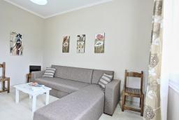 Гостиная. Греция, Айос Спиридон : Современная вилла с террасой и барбекю, 2 спальни, парковка, Wi-Fi