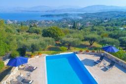 Бассейн. Греция, Кассиопи : Прекрасная вилла с бассейном и видом на море, 5 спален, 4 ванные комнаты, барбекю, парковка, Wi-Fi