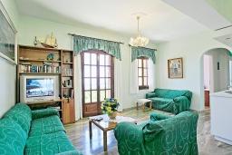 Гостиная. Греция, Нисаки : Роскошная вилла с бассейном, барбекю и видом на море, 5 спален, 3 ванные комнаты, парковка, Wi-Fi