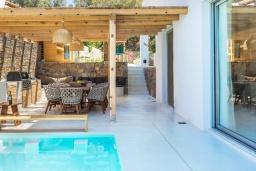 Территория. Греция, Скалета : Роскошная пляжная вилла с большим бассейном, джакузи и шикарным видом на море, 5 спален, 4 ванные комнаты, барбекю, парковка, Wi-Fi