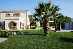 Территория. Греция, Керкира : Роскошная вилла с бассейном, джакузи и зеленым двориком с барбекю, 2 спальни, 2 ванные комнаты, парковка, Wi-Fi