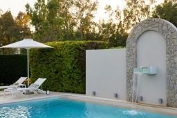 Бассейн. Греция, Керкира : Роскошная вилла с бассейном, джакузи и зеленым двориком с барбекю, 4 спальни, 4 ванные комнаты, парковка, Wi-Fi