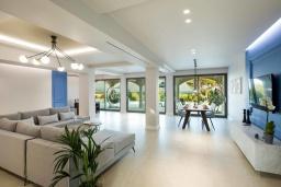 Гостиная. Греция, Дассия : Роскошная вилла с зеленой территорией, бассейном и барбекю, 5 спален, 5 ванных комнат, джакузи, парковка, Wi-Fi