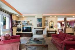 Гостиная. Греция, Потамос : Прекрасная вилла с бассейном и зеленым двориком с барбекю, 3 спальни, 3 ванные комнаты, парковка, Wi-Fi