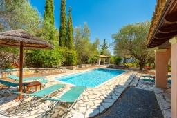 Бассейн. Греция, Барбати : Прекрасная вилла в 90 метрах от моря с бассейном и зеленым двориком с барбекю, 3 спальни, 2 ванные комнаты, парковка, Wi-Fi