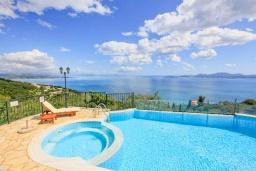 Бассейн. Греция, Нисаки : Прекрасная вилла с бассейном и видом на море, 2 спальни, 2 ванные комнаты, барбекю, парковка, Wi-Fi
