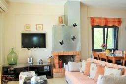 Гостиная. Греция, Плакиас : Замечательная вилла с бассейном и видом на море, 3 спальни, 2 ванные комнаты, джакузи, зеленый сад, барбекю, парковка, Wi-Fi