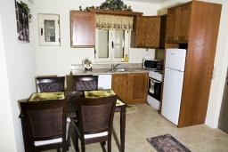 Кухня. Греция, Аделе : Прекрасная вилла с бассейном и зеленым двориком, 2 гостиные с кухнями, 5 спален, 3 ванные комнаты, детская площадка, барбекю, парковка, Wi-Fi